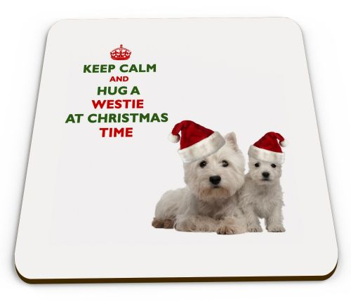 Christmas Keep Calm And Hug A Westie Novelty Glossy Mug Coaster